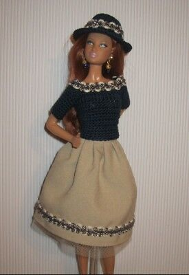 TINY KITTY Tonner Doll Clothes: Blouse, Skirt, Hat & Earrings OOAK 4 parts