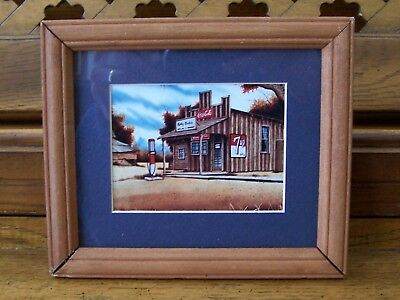 Matted and Framed Vintage Print with Coke Sign Reminiscent of Jim Harrison