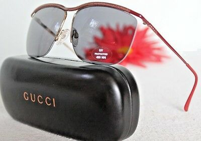 3ba36c3ee4d NEW~GUCCI~ 548 RED BURGANDY GOLD 2242 82p Frames Case SUNGLASSES Vintage  Italy