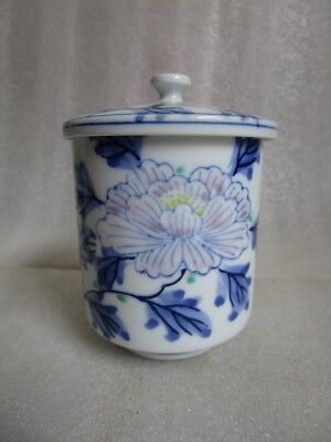 VTG JAPANESE Arita Kutani Signed TEA SAKI CUP Blue White Hand Painted Peony Lg!