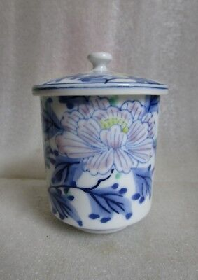 VTG JAPANESE Arita Kutani Signed TEA SAKI CUP Blue White Hand Painted Peony Sm!
