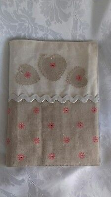 Handmade Shabby Chic Fabric Book or Notebook cover. Includes A5 notebook