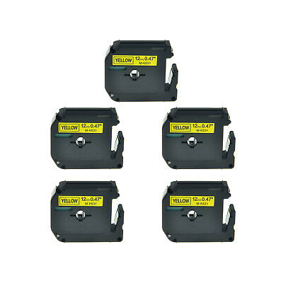 5 PK 12mm Black on Yellow Lable Tape MK631 M631 M-K631 For Brother P-touch 55BM