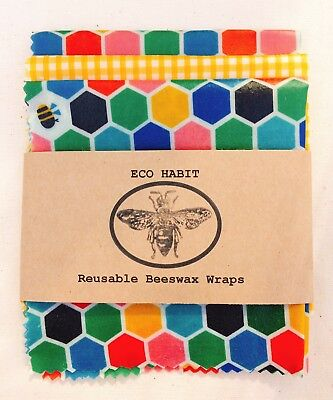 "3 Large Sheets Of "" Eco Habit "" Beeswax Food Wraps, Handmade In Uk, Zero Waste"