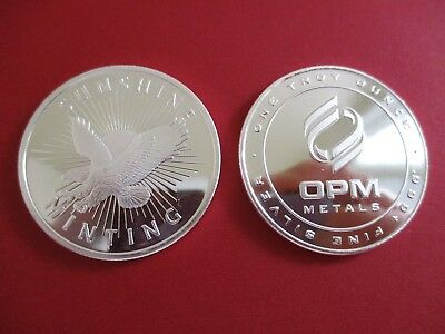 Lot of 2 - 1 oz. SILVER ROUNDS 1- Sunshine Mint and 1- OPM  .999 Fine