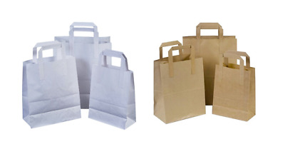 Paper Carrier Bags Small Brown White Medium Large SOS Flat Handle Takeaway Paper