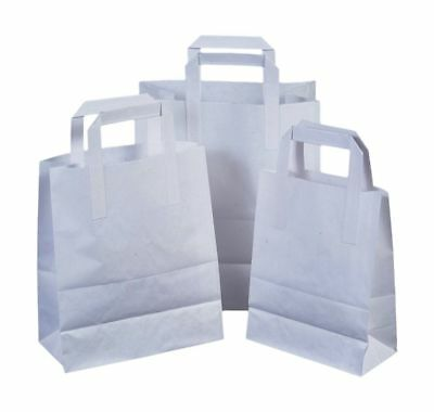 Paper Carrier Bags White Small Medium Large SOS Flat Handle Takeaway ALL SIZES!!