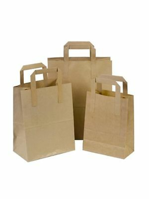 Paper Carrier Bags Brown Small Medium Large SOS Flat Handle Takeaway ALL SIZES!!