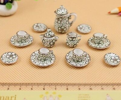 1:12 Dollhouse Miniature Porcelain Kitchen Tableware Coffee Tea pot Cup set 15pc