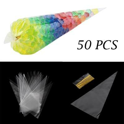 b78c9e2a511040 50pcs/lot Diy Wedding Birthday Party Sweet Cellophane Clear Candy Cone  Storage