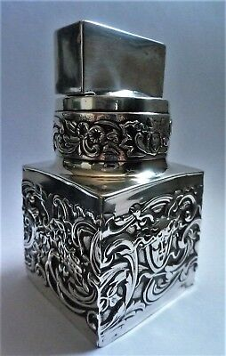 Unusual Art Nouveau English Sterling Silver Container