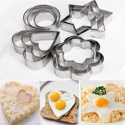12pc/set Baking Moulds Stainless Steel Cookie Cutters Plunger Biscuit Diy