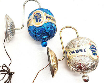 Vintage Rotating Pabst Blue Ribbon Wall Advertising Sconce Globe Light Brewiana