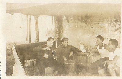OLD PHOTO OF FOUR MEN DRINKING MATE.very strong & muscular GAUCHO GAY INT?