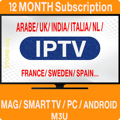 1 YEAR  IPTV SUBSCRIPTION MAG, Android, SmartTV, M3U