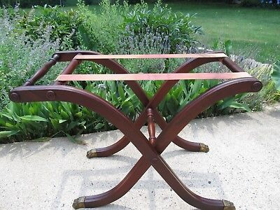 Vintage Folding Mahogany Luggage Rack / Suitcase Stand Brass Claw Feet