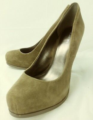 5cf8578e0ab2 Nine West Wos Shoes PIXIEGIRLO US 5.5 M Brown Suede Slip-On Heels 3673