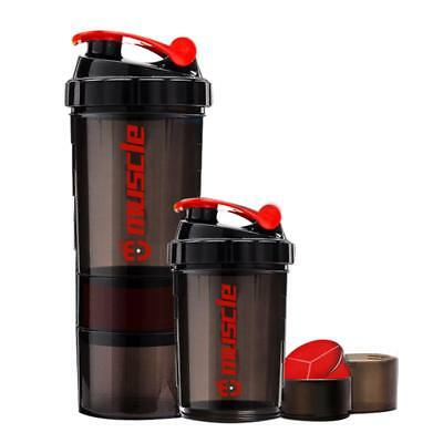 Hot New Protein Powder Shaker Bottle Fitness  Mixer Sports Fitness Gym 3 Layers