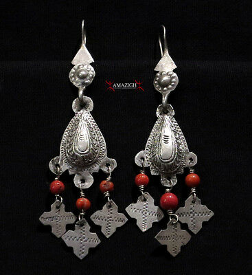 Old Berber Earrings - Silver and Mediterranean Coral - Morocco