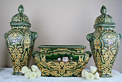 XXL Rare French 1900 BARBOTINE faience vases set centerpiece floral decor