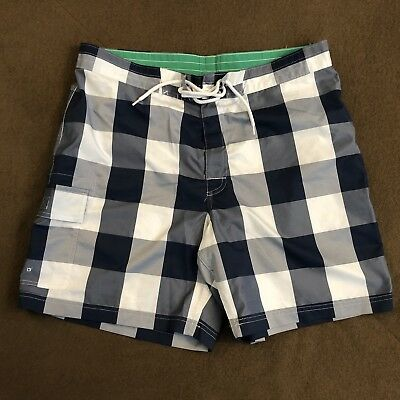 8374eba5b7 MENS BROOKS BROTHERS Navy Blue Gingham Swim Board Shorts 36 - $19.99 ...