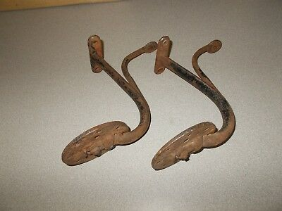 Antique cast iron horse drawn wagon buggy 4 inch round side foot steps pair used