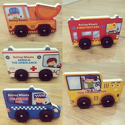 Brand New Baby Toddler Books,Vehicle Board Books With Wheels, Bundle Of 5, Gift