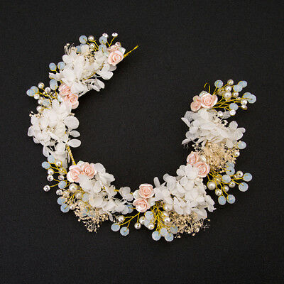 ries Hair Jewelry Bridal Flower Headdress Pearl Beads Headpieces For Brides Z8S3