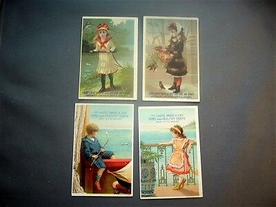 """Four 4-1/2"""" Victorian trade cards for Lautz Bros. soaps"""