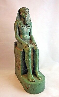 Egyptian Art Design King Tut Figurine Statue Seated Signed Veronese 2000-a1