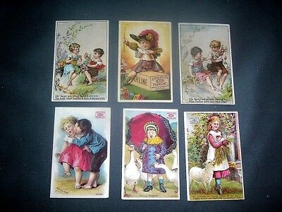 6 Victorian trade cards for Pearline laundry soap