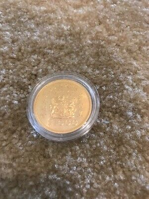 1975 Hong Kong Gold Coin BU $1000 Queen Royal Visit 0.4708 Oz 15000 Mintage