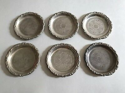 Vintage Italian Silver Plated Coasters Small Dish Made In Italy Beautiful Detail