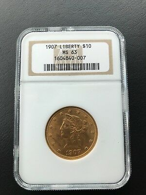 1907 $10 Liberty Head Gold Ngc Ms-63