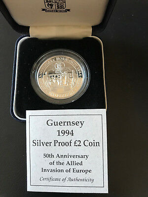 Guernsey 1994 2 Pound Silver Proof Coin Anniversary of Normandy