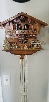 Cuckoo Clock Black Forest house with moving wood sawers and mill .
