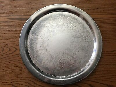 """ONEIDA 19"""" Etched ROUND SERVING TRAY Silver Plated"""