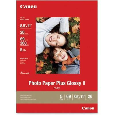 "New! Canon Pixma Photo Paper Plus Glossy Ii 20 Sheets 8.5"" X 11"" Pp-201"