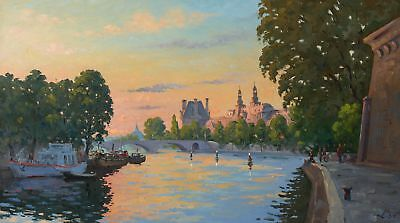 EVENING, LOUVRE cityscape by ALEXANDROVSKY, Original oil Painting RUSSIAN 20x35
