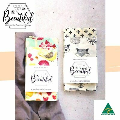 Beeswax Food Wraps  2 Pack | Eco-friendly | Reusable | Beautiful Pattern Designs
