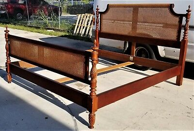 4 Pc Baker Milling Road W Indies Mahogany Carved Pineapples Caned King Bed Frame