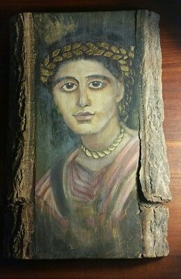 Antique style Hand painted Coptic Icon by Caroline Wassef raw wood 2002