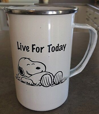 """Peanuts SNOOPY Enamelware Tall Coffee Mug w/ Silver Rim """"Live for Today"""""""