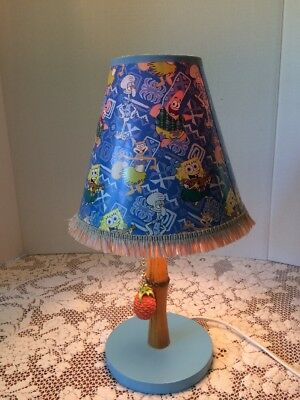 Sponge Bob Square Pants Lamp Hula Shade Blue Rare HTF 2005