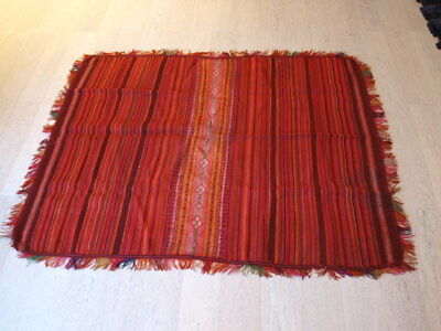 Antique Bolivian poncho bright natural dyes exquisite design display or for wear