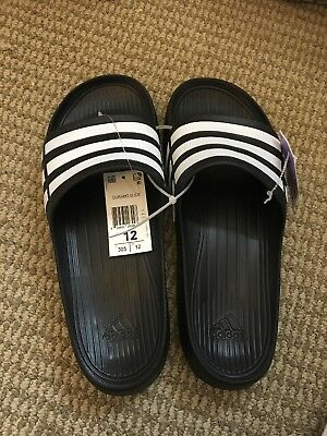 0b98cef8c Nwt Adidas Duramo G15890 Black White Slides Sandals Flip Flops Shower Sport