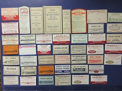 44+Old Pharmacy-Apothecary-Medicine Bottle Labels=Vintage Ephemera=