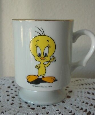 Collectible Warner Bros Tweety Bird Coffee Cup w/Advertising Words, Vintage 1975