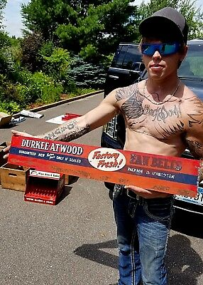 Vintage Automotive Durkee Atwood Fan Belts Display  Sign Gasoline Oil Gas 36X6