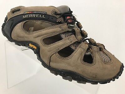 7287dbbe28dd Merrell Continuum Vibram Mens Brown Leather Hiking Water Shoes Sandals Size  9.5